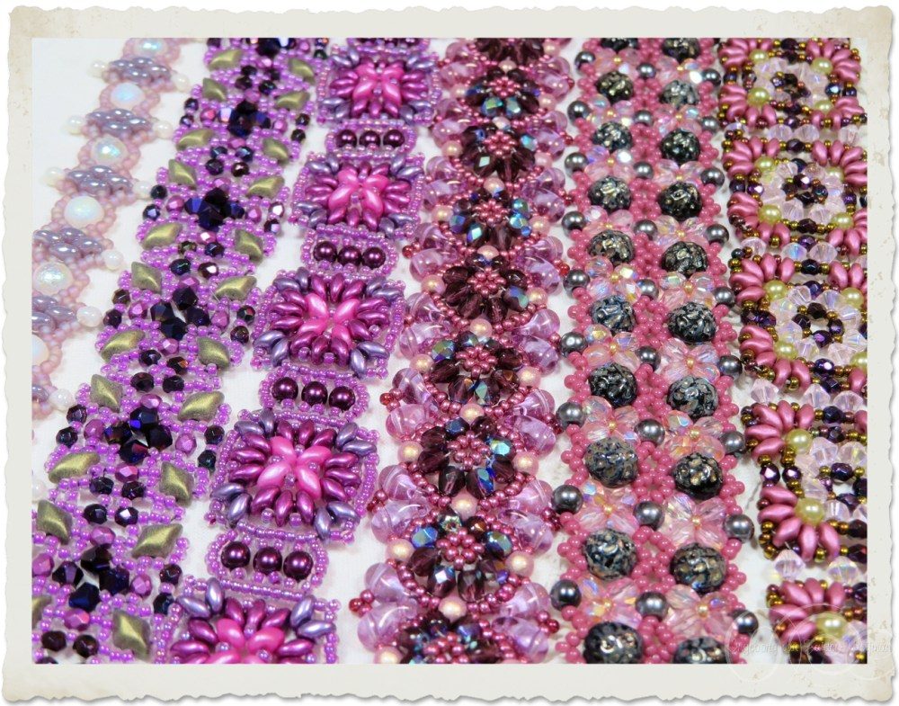 Handmade purple pink beaded bracelets by Ingeborg van Zuiden