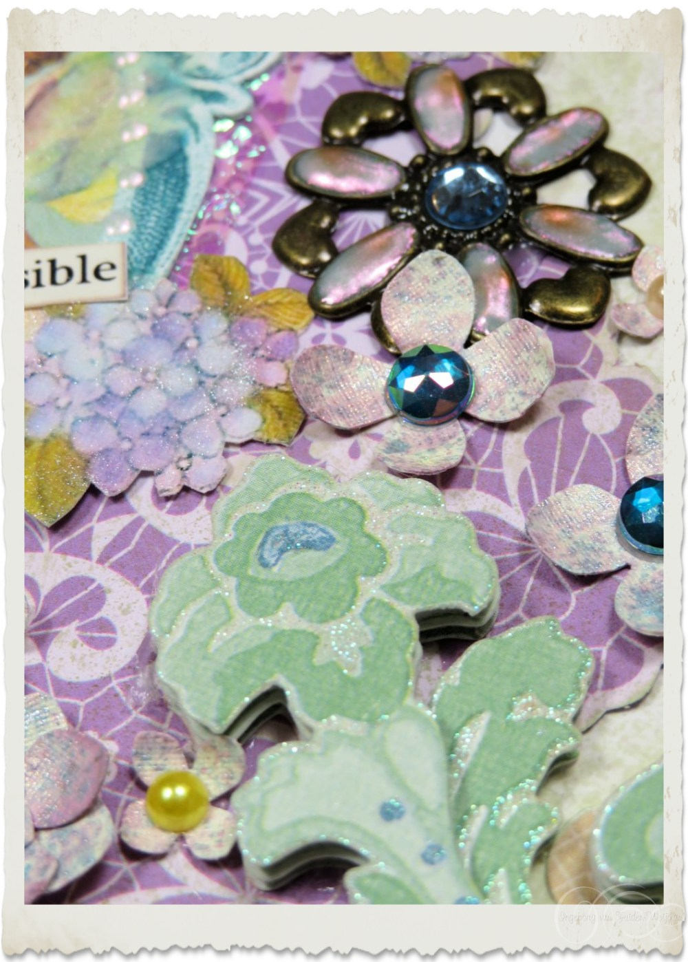 Bronze floral embellishment with Nuvo drops