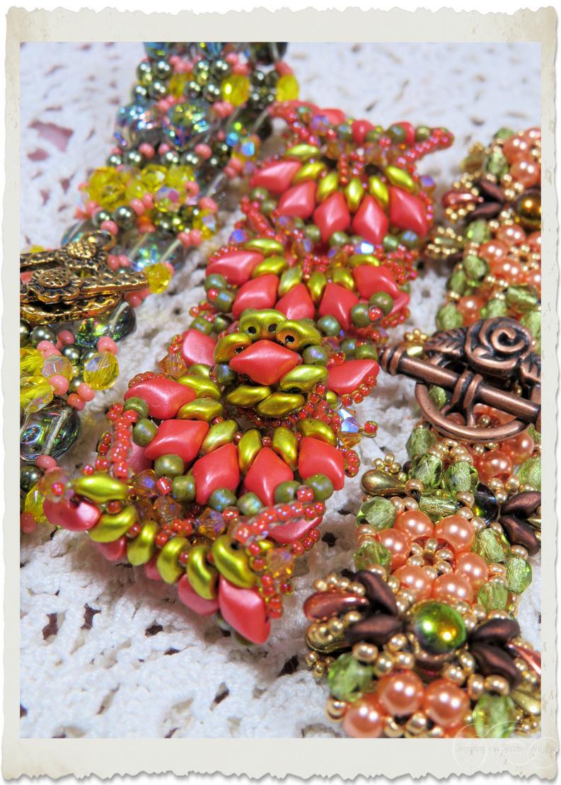 Beadweaving details of bracelets