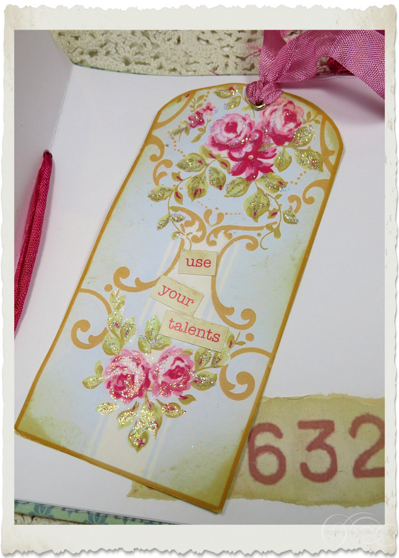 Shabby tag with wordart 'use your talents' by Ingeborg van Zuiden
