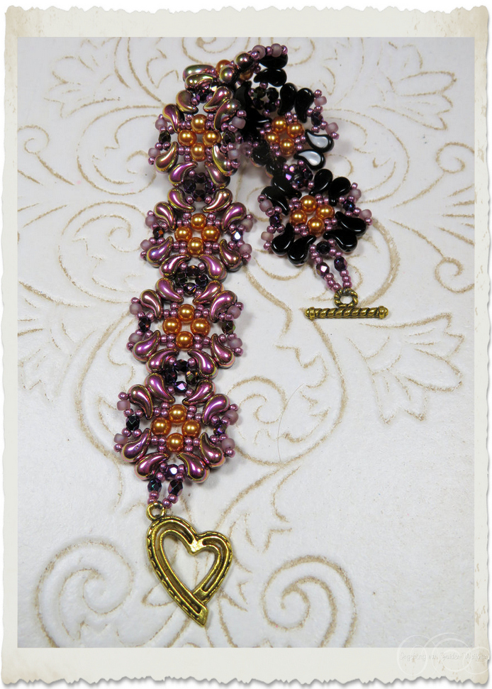 Handmade bead weaving bracelet with pearls, seed beads, Czech crystals and Zoliduo