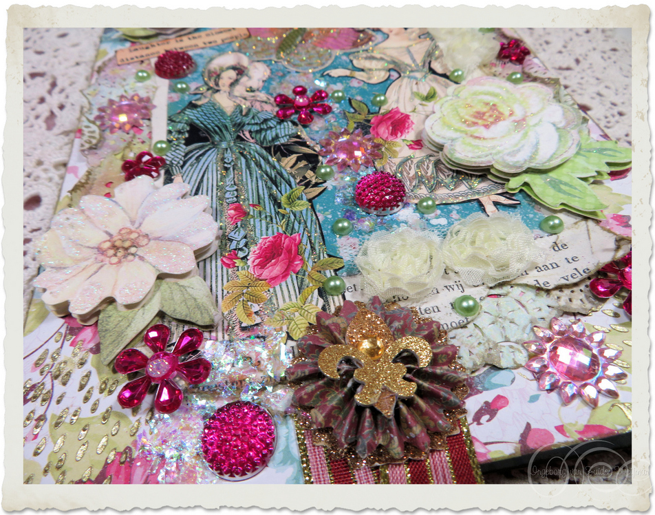 3d ornaments and flowers on handmade card