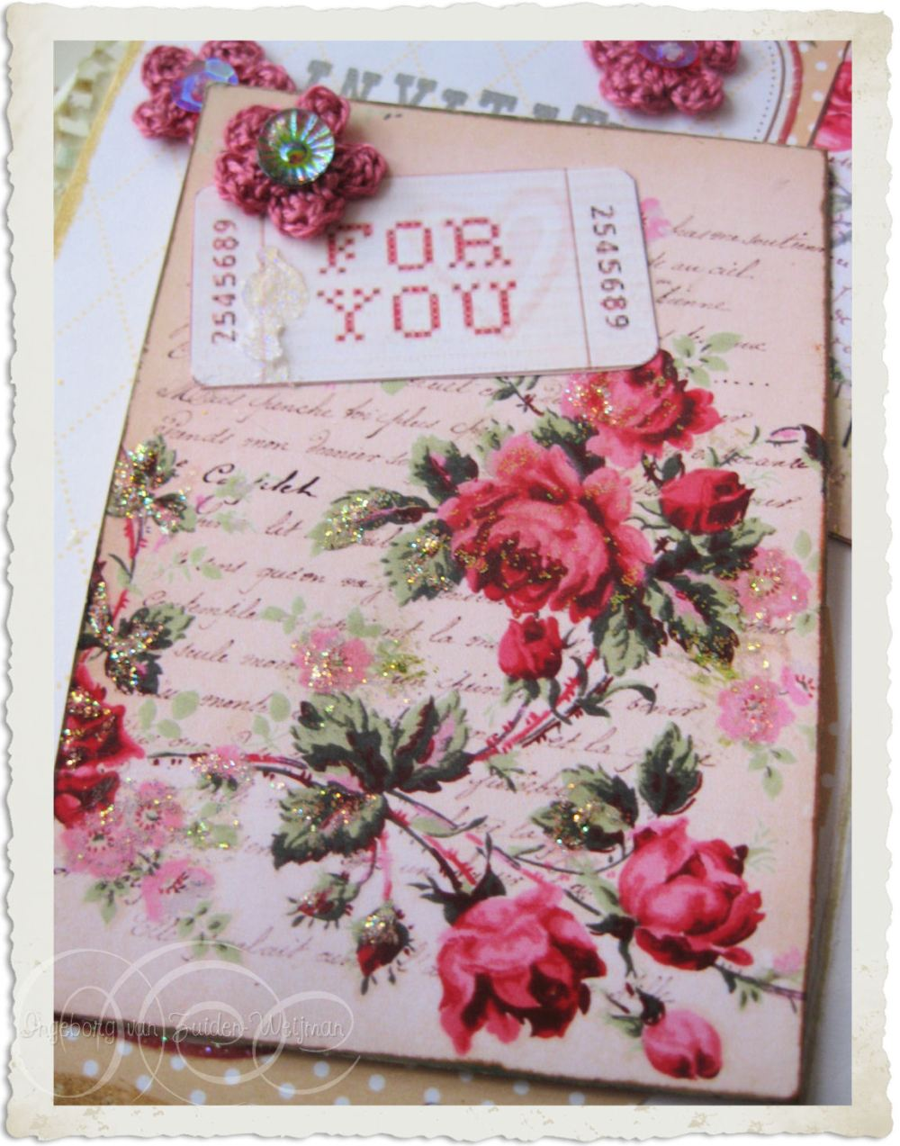 Shabby chic notecard with crochet flower