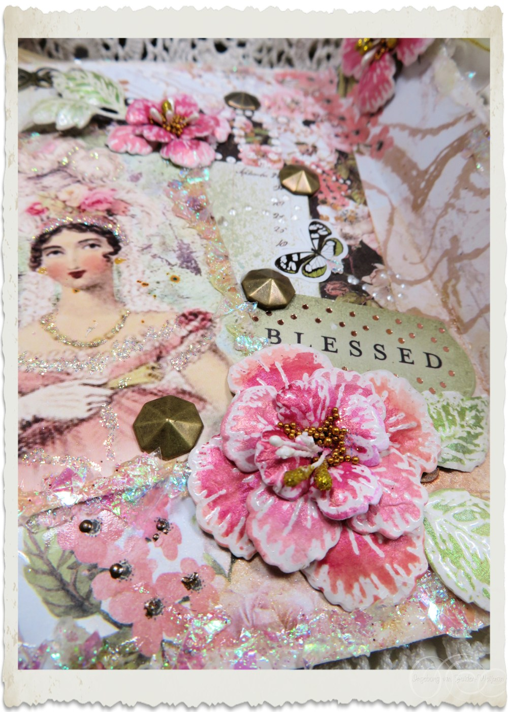 Details of pretty iridescent border and hand painted Oakberry Lane flower