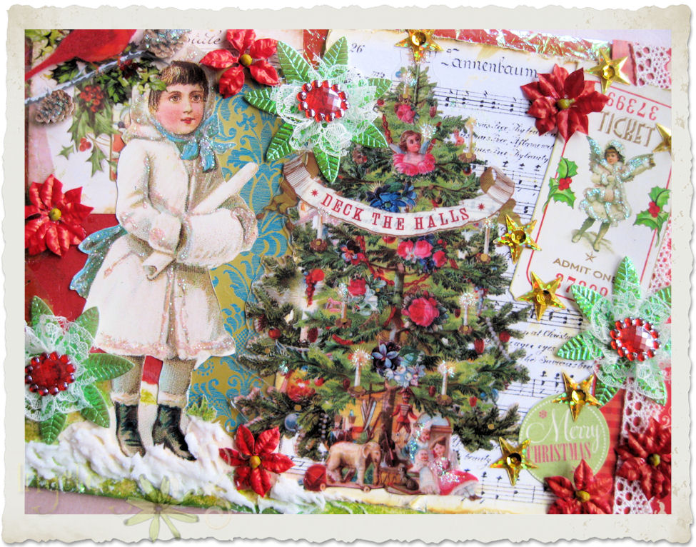 "Handmade vintage style Christmas card ""Deck the Halls"""