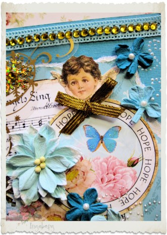 Details of vintage blue angel card with Petaloo flowers