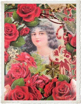 Handmade vintage style christmas card with red roses and vintage lady