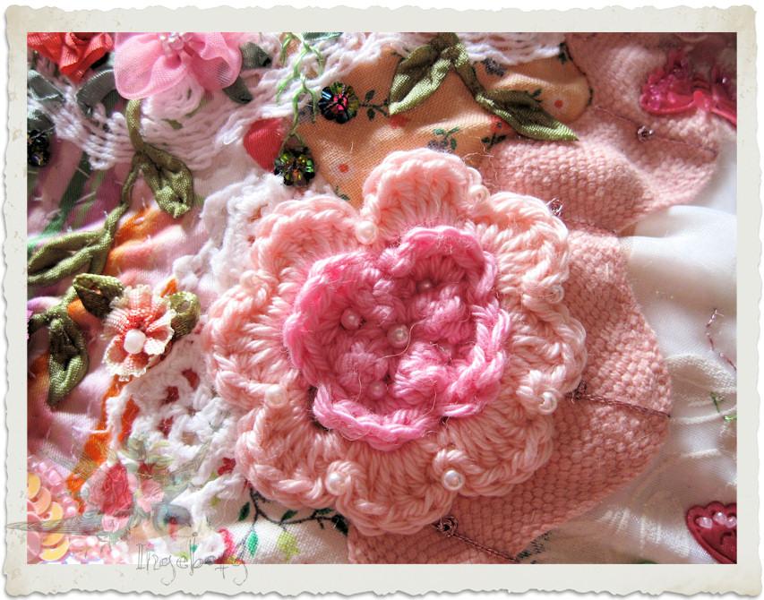 Pink crochet rose