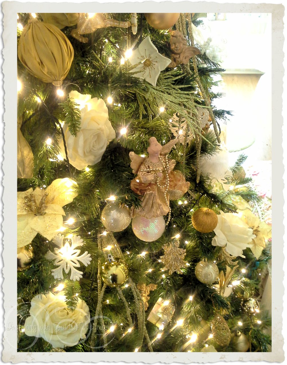 Green white gold Christmas tree decor