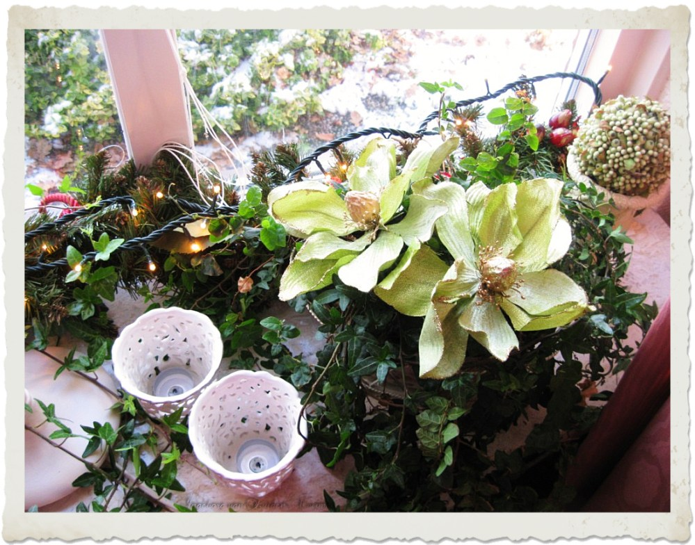 Artificial flowers and lights