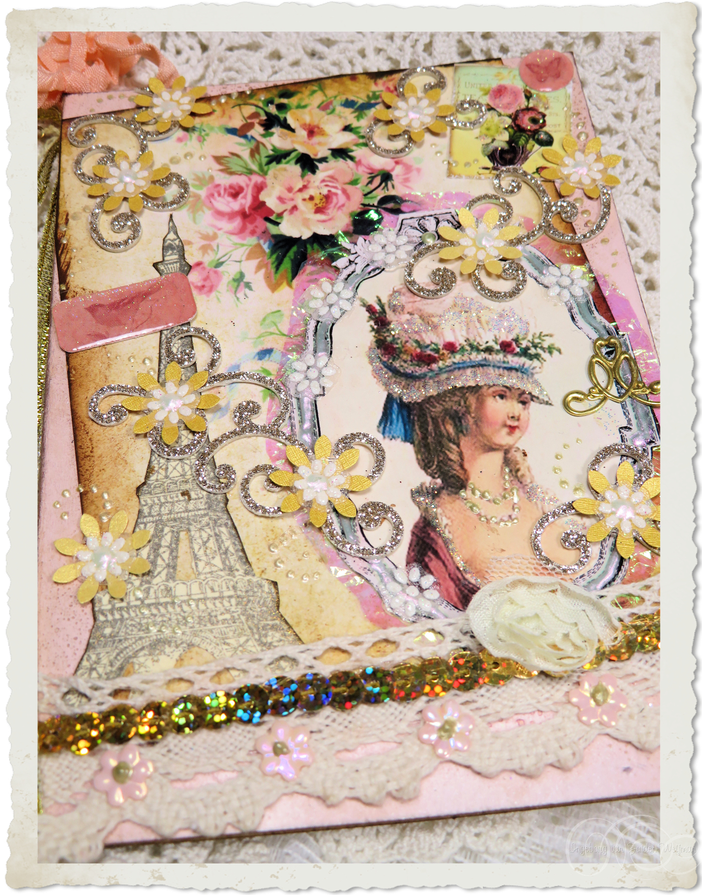 Handmade card with Eiffel tower and Marie-Antoinette