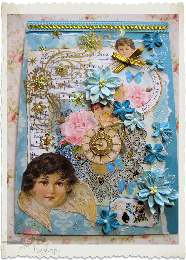 Handmade blue floral Christmas card with victorian angel and Petaloo flowers