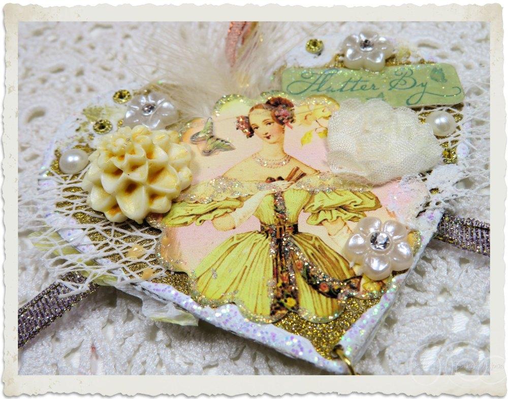 Details of Regency style handmade mixed media heart by Ingeborg van Zuiden