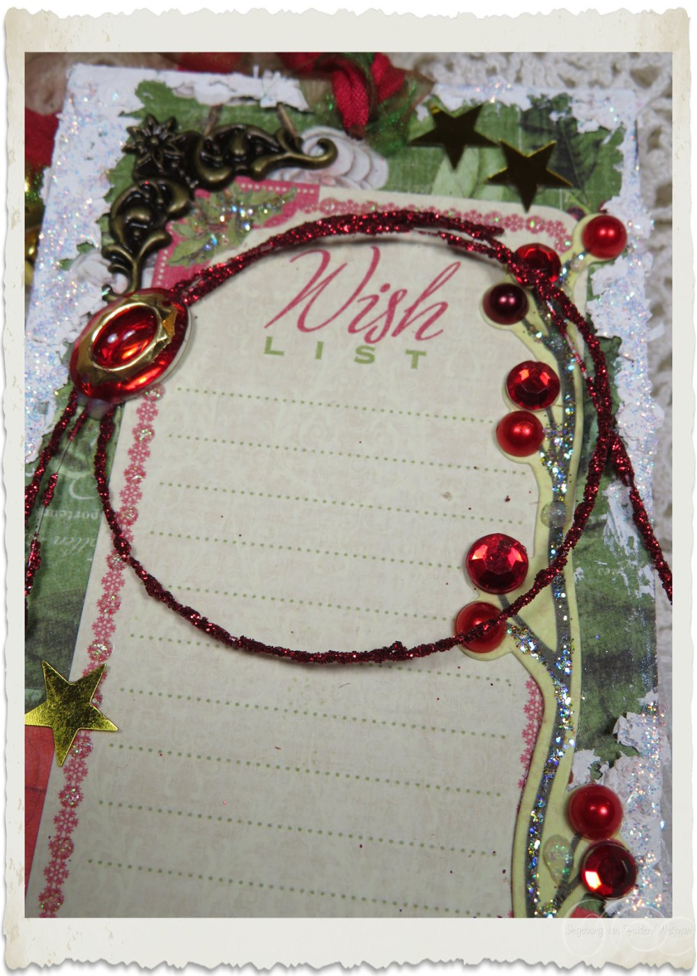 Details of wish list on handmade Christmas tag