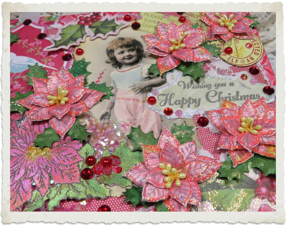 Details of glitter and iridescent accents on handmade Christmas card