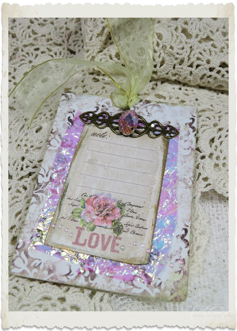 Handmade notecard with iridescent accents