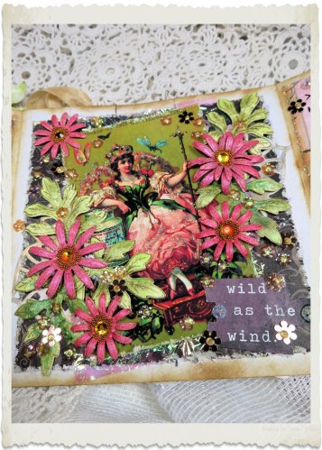 handmade fairy card with Heartfelt Creations Wild Asters flowers by Ingeborg van Zuiden