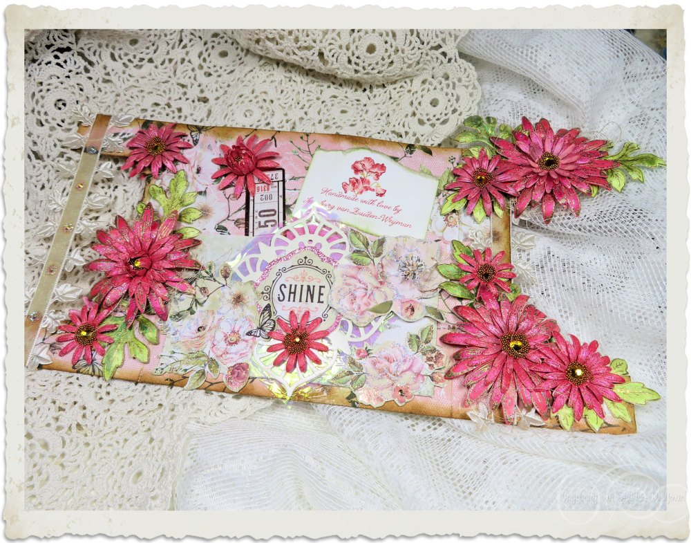 Backside of handmade vintage fairy card with wild asters