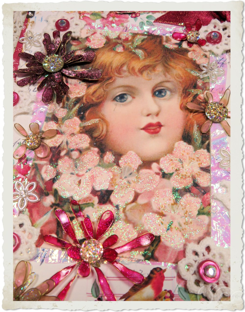 Handmade vintage style Christmas notecard hanger with victorian angel and blossoms