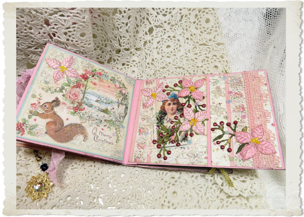 Two pages in the Christmas book with shabby details