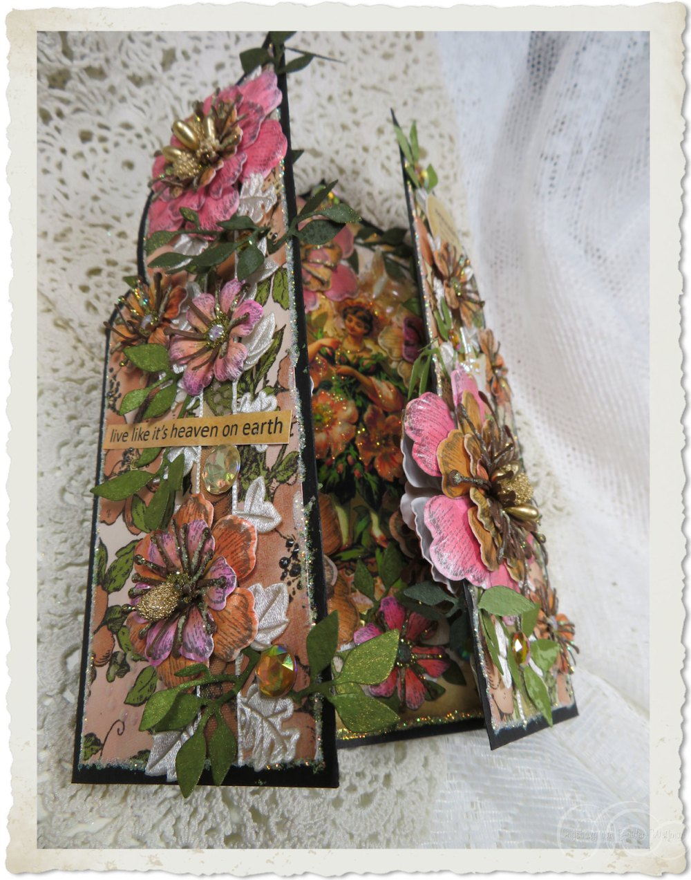Flaps of handmade fairy card with Arianna blooms flowers