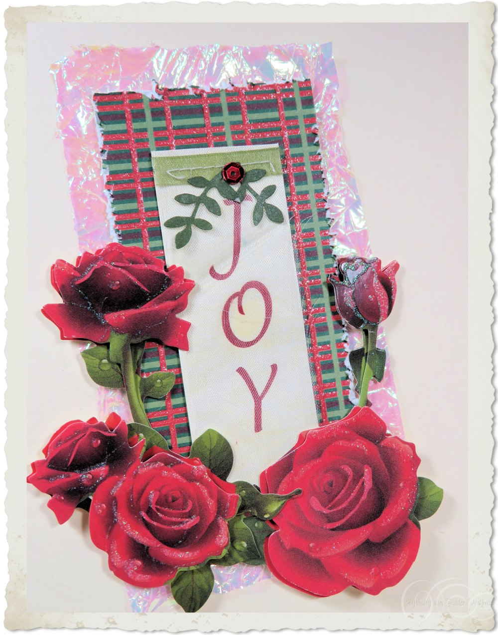 Inside a Christmas card details of wordart 'Joy'