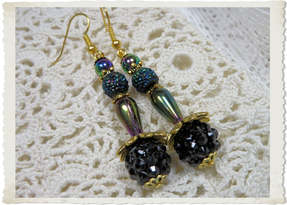 AB earrings with shamballa beads and gold toned findings by Ingeborg van Zuiden