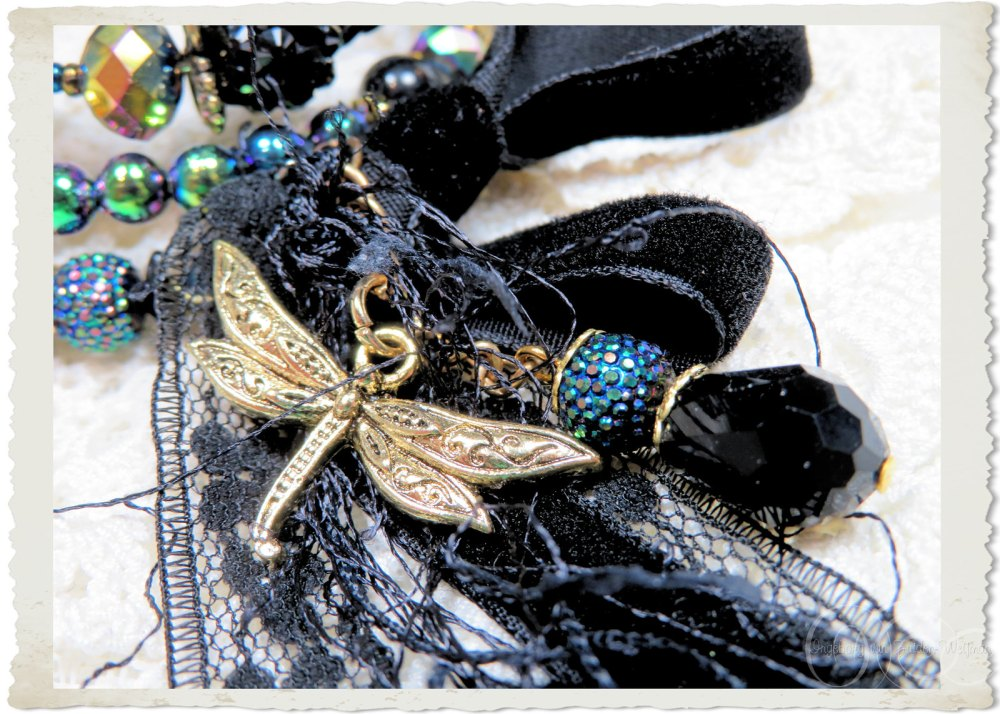 Black velvet ribbon and lace with gold tone dragonfly charm