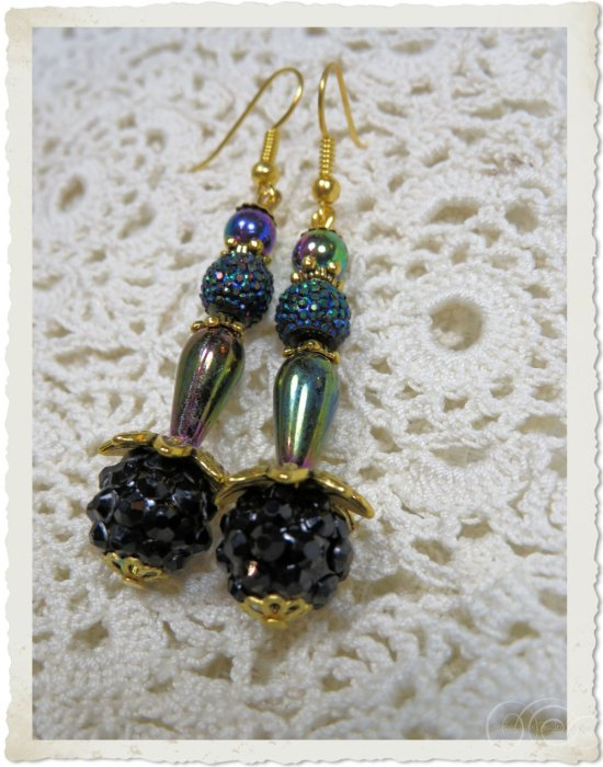 Black gold AB earrings with shamballa beads