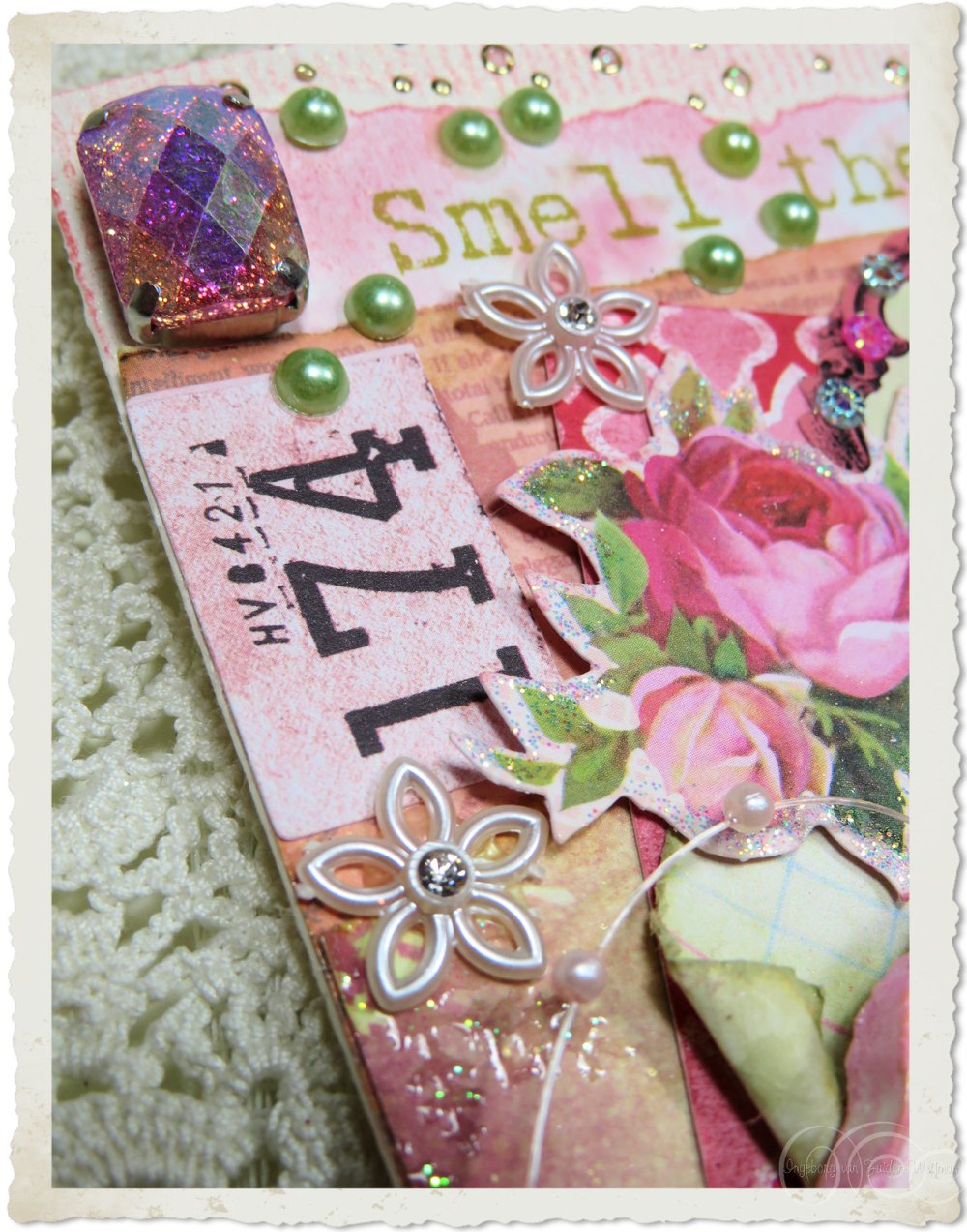 Stones and other embellishments on handmade card