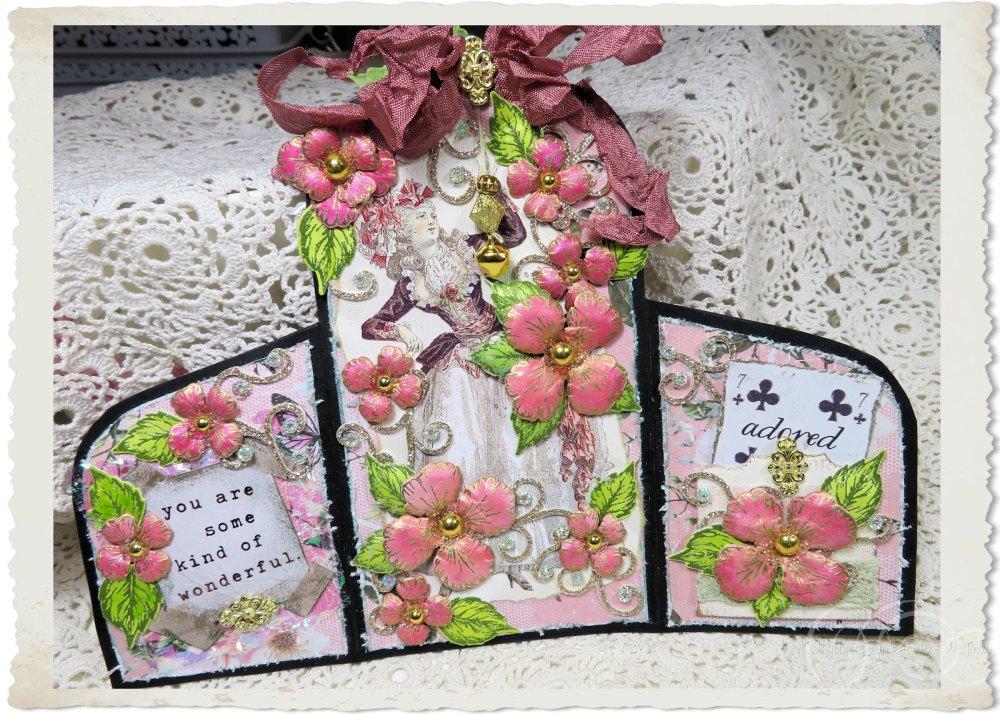 Handmade card with Oakberry Lane flowers from Heartfelt Creations and Marie by Ingeborg van Zuiden