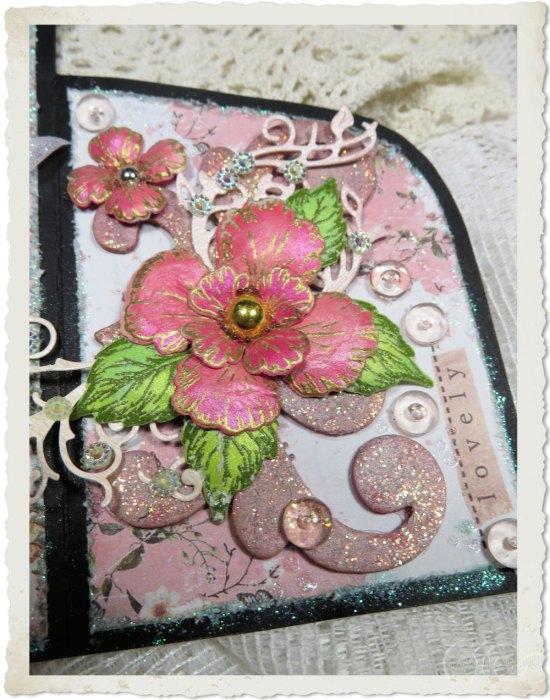 Pink handmade paper flower