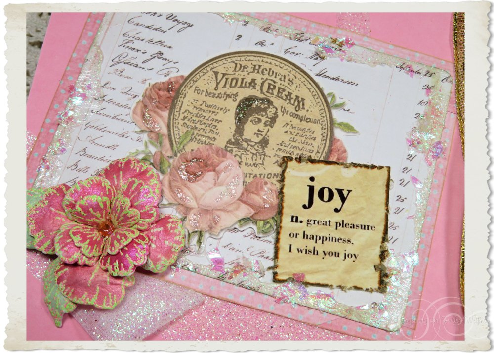 Details of inside of handmade pink angel card with iridescent glitter
