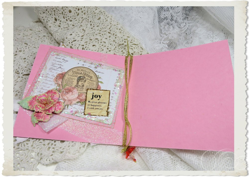 Inside of handmade card with joy by Ingeborg van Zuiden