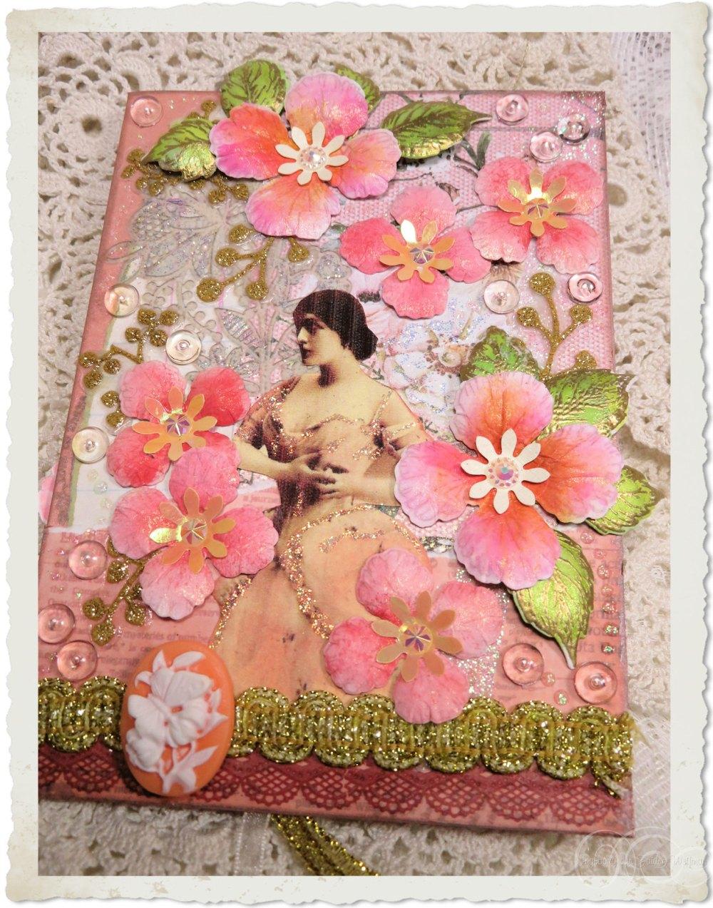 Handmade vintage style card with lady and pastel peach Heartfelt Creations flowers from Oakberry Lane series by Ingeborg van Zuiden Weijman