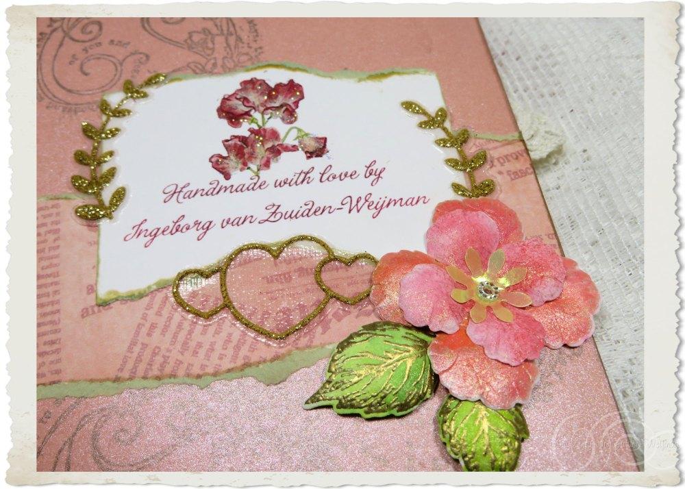 Details of backside signature of handmade peach card