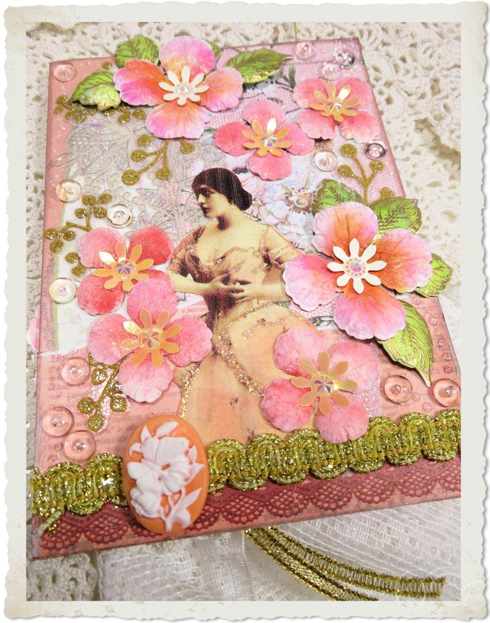 Handmade peach floral card by Ingeborg van Zuiden