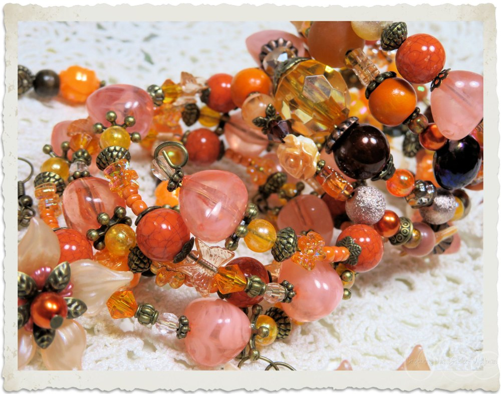 Peach orange bracelets by Ingeborg