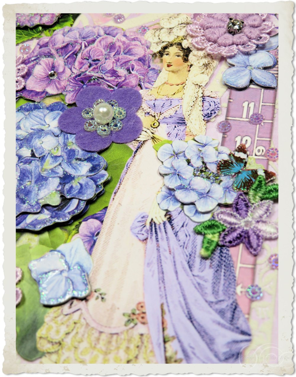 Regency lady with purple flowers by Ingeborg van Zuiden