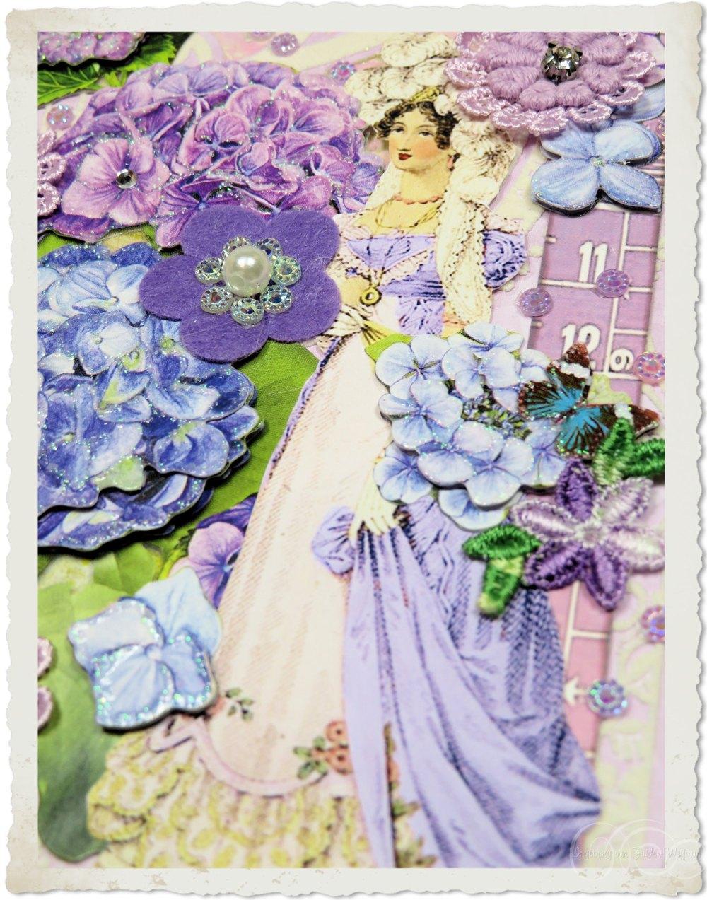 Regency lady with purple flowers by Ingeborg van Zuiden