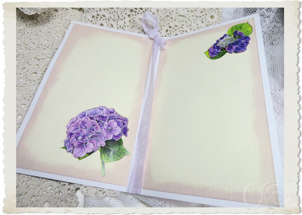 Inside of handmade card with Hydrangea flowers