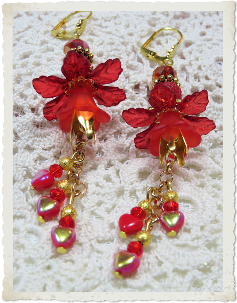 Red gold AB heart dangling earrings