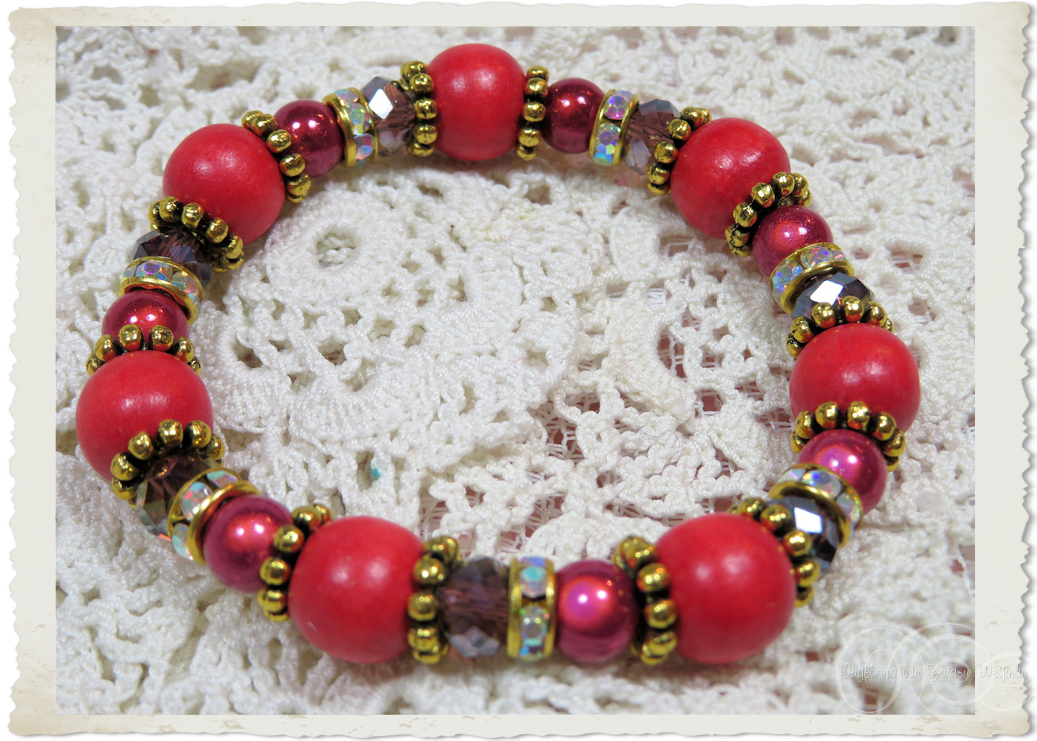 Red gold bracelet with AB bling spacers