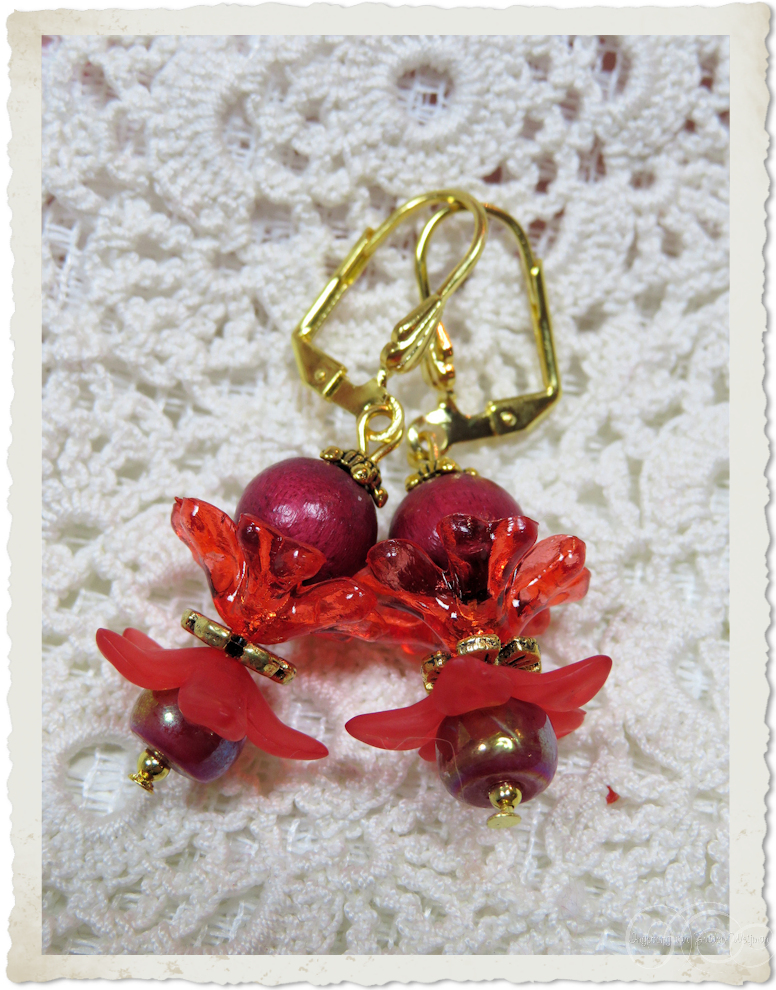 Details of red smartie earrings