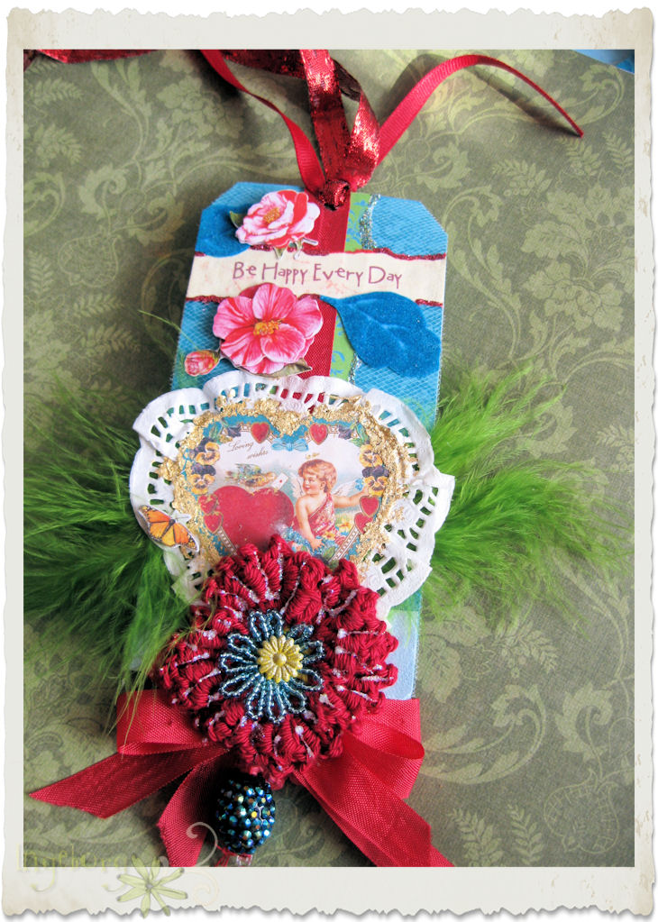 Handmade Valentine tag with dark red crochet poppy flower