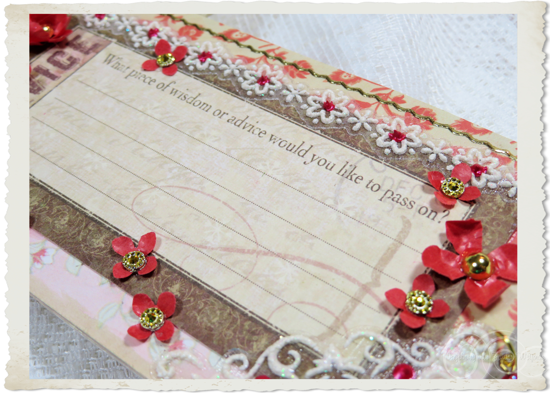 Details of flowers on backside of handmade tag
