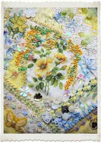 Handmade Crazy Quilt block Golden Spring Flowers by Ingeborg van Zuiden