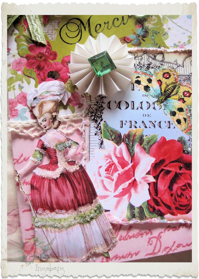 Merci Marie handmade vintage style floral card by Ingeborg van Zuiden