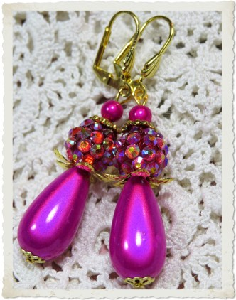 Handmade magenta pink miracle earrings with drop beads