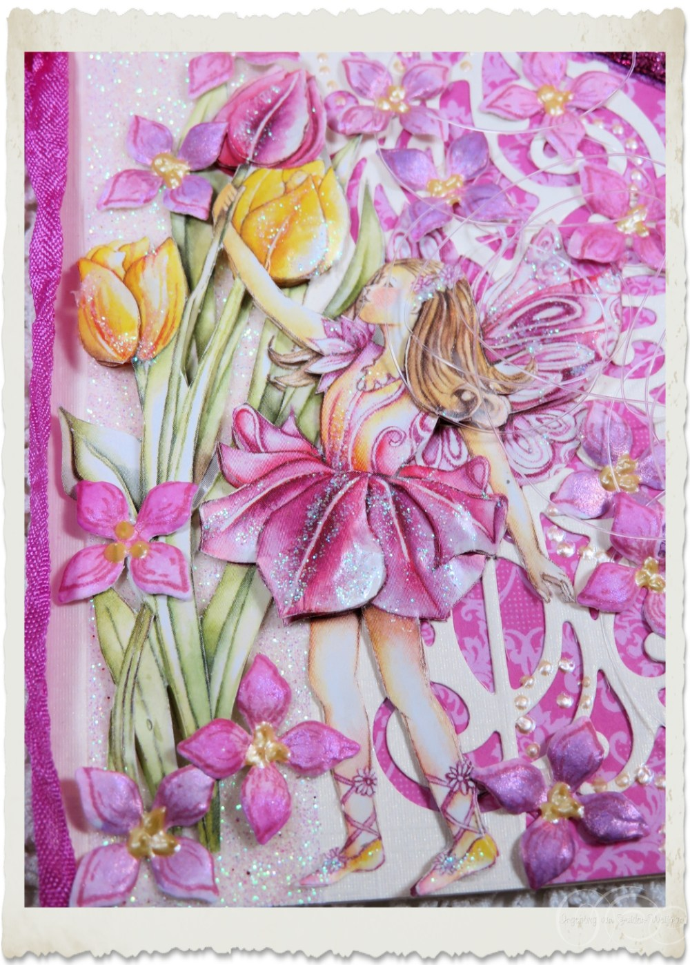 Details of handmade flower fairy card with Heartfelt Creations lilac flowers and tulips by Ingeborg van Zuiden